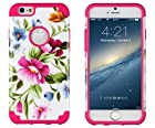 iPhone 6, DandyCase 2in1 Hybrid High Impact Hard Pink & Blue Flower Pattern + Hot Pink Silicone Case Cover for Apple iPhone 6 (4.7 screen) + DandyCase Screen Cleaner