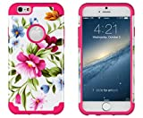 iPhone 6, DandyCase 2in1 Hybrid High Impact Hard Pink & Blue Flower Pattern + Hot Pink Silicone Case Cover for Apple iPhone 6 (4.7