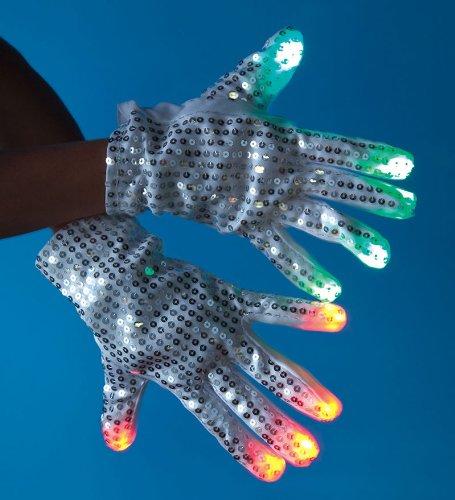 White Sequined Led Light-Up Gloves, Set Of 2