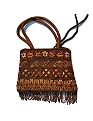 Raun Harman Embroidered Brown Tote Bag