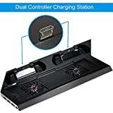 PS4 Cooler, Amir® PS4 Vertical Stand Cooling Fan, PlayStation 4 Controller Dual Charging Station with FREE Dual Charger Ports + 8 Controller Cover Caps + USB Ports - Best Cooling Station System