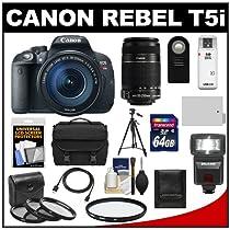 Canon EOS Rebel T5i Digital SLR Camera & EF-S 18-135mm & EF-S 55-250mm IS Lens + 64GB Card + Battery + Case + Flash + 3 UV/CPL/ND8 Filters Kit