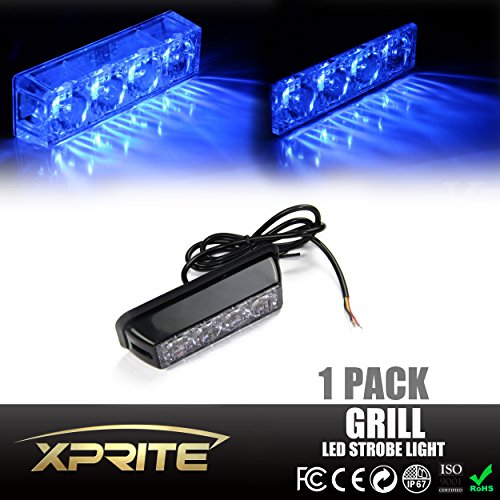 Xprite Blue 4 LED 4 Watt Emergency Vehicle Waterproof Surface Mount Deck Dash Grille Strobe Light Warning Police Light Head with Clear Lens (Led Blue Emergency Lights compare prices)