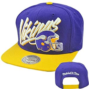 NFL Mitchell Ness Retro Vice Script Snapback Hat Cap NE99 Wool Minnesota Vikings by Mitchell & Ness