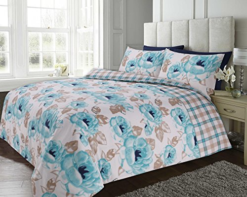 bloomingdale-teal-floral-checked-reversible-duvet-cover-quilt-bedding-set-green-king-size-230cm-x-22