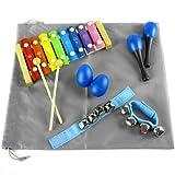 kilofly Mini Band Musical Instruments Value Pack, Xylophone + 6 Rhythm Toys [2 Maracas, 2 Egg Shakers, 2 Wrist Bells, Blue]