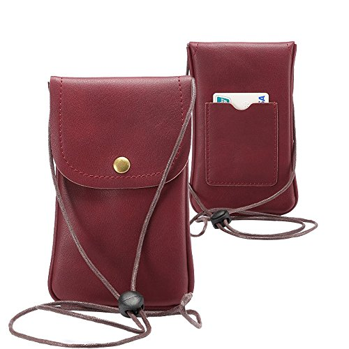 LefRight Casual Fashion PU Leather Cellphone Neck Pouch Bag Credit Card Holder with adjustable Sling for iPhone 6s Plus Galaxy S3 S4 S5 S6 Edge+ S7 Edge