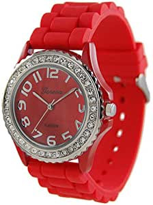 Women's Rhinestone Accented Watch Color: Red