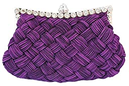 Chicastic Pleated and Braided Rhinestone studded Wedding Evening Bridal Bridesmaid Clutch Purse - Purple