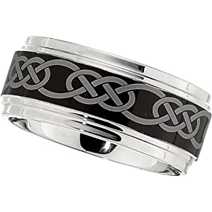 Dura Cobalt Band with Black Laser Celtic Knot Pattern: Size 14