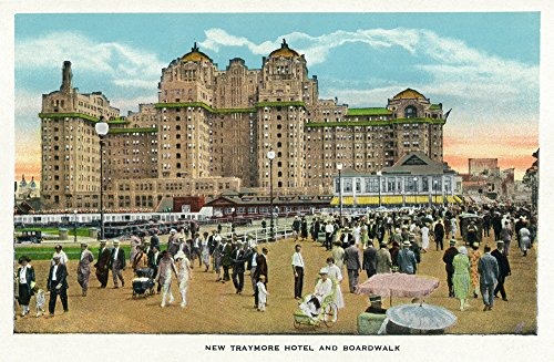 Atlantic City, New Jersey - Exterior View of the New Traymore Hotel; Boardwalk View (9x12 Art Print, Wall Decor Travel Poster) (Hotel Park City compare prices)