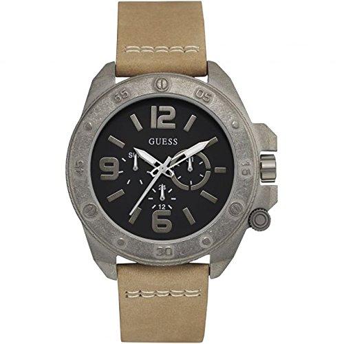 Guess W0659G4 - Reloj con correa de piel para hombre, color negro / beige