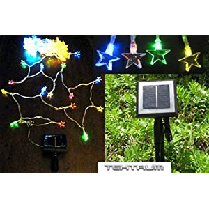 Click to read our review of Christmas Solar Lights: TEKTRUM 52 FT-LONG 100 COLOR STAR TWO-IN-ONE SOLAR STRING FAIRY LIGHTS OUTDOOR