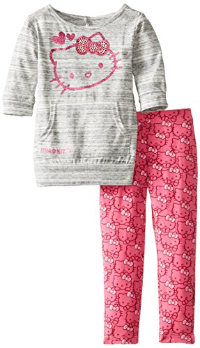 Hello Kitty Little Girls' Hk Screen Printed Set, Heather Gray, 2T front-733634
