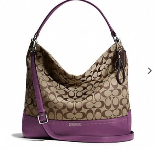 Coach   Coach 23279 Khaki & Amethyst Park Signature Hobo Shoulder Bag