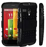 Magic Global Gadgets - Black Heavy Duty Armour Tough Shockproof Stand Hard Case Cover For Motorola Moto G (XT1033/XT1032) 8GB 16GB 3G Dual Sim With Screen Guard, Cleaning Cloth & MGG Stylus