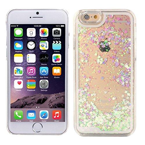 iPhone 6/6S Liquid Hülle weiß/lila mit Herzen von Danura, Flüssiges Case, Glitter Hülle Cool 3D Fließen Flüssig Bling Schwimmend Treibsand Stern Luxus Shiny Case Glanz Shiny Effekt Kristall Crystal Hülle