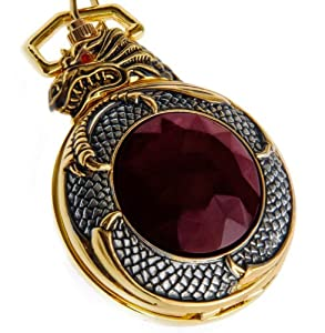 ShoppeWatch PWMDG11 Dragon Gold Tone Case Red Garnet Inset Pocket Watch
