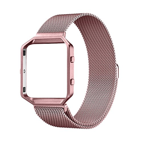"""Fitbit Blaze Accessories Band Large, UMTele Metal Frame Housing with Magnet Lock Milanese Loop Stainless Steel Bracelet Strap Band for Fitbit Blaze Smart Fitness Watch Rose Pink Gold (6.1""""-9.3"""")"""