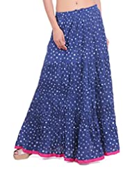 Geroo Blue Cotton Bandhej Skirt With Pink Manzgi.