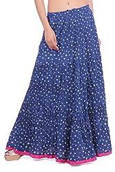 Geroo Blue Cotton Bandhej Skirt With Pink Manzgi.