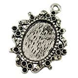 DIY Jewelry Making: 10 pcs Antique Silver Alloy Pendant Cabochon Settings, Lead Free and Cadmium Free & Nickel Free