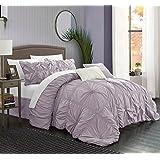 Chic Home 6 Piece Halpert Floral Pinch Pleat Ruffled Designer Embellished Comforter Set, King, Lavender