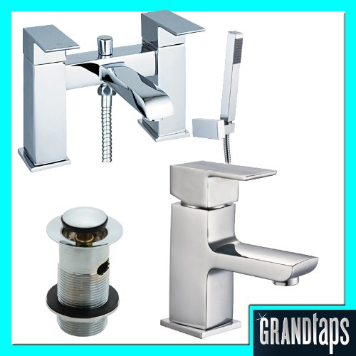 Chrome Bathroom Bath Shower And Basin Sink Mixer Tap Set (SPA 41)  &  Shower Attachment, Basin Waste, Fittings  &  Easy Fit Flexi Pipes by Grand Taps