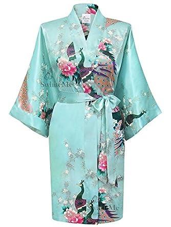 Swhiteme Women's Kimono Robe, Short, Peacock, Aqua, KPS01B