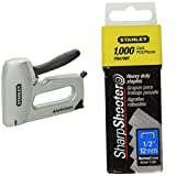 Stanley TR150HL SharpShooter Heavy Duty Staple Gun with TRA708T Sharpshooter 1/2-Inch Leg Length Staples, Steel (1000 Count)
