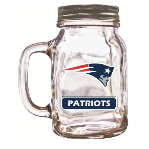 Officially Licensed NFL Glass Mason Jar Cup with Screw Cap - New England Patriots