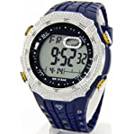 Mens King Master Diamond Case & Navy Blue Band Digital G Diamond Shock Watch #KM-516