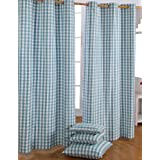 100% Cotton Block Check Blue Ready Made Eyelet Curtain Pair