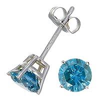 1/4 CT Blue Diamond Stud Earrings 14k White Gold by Vir Jewels