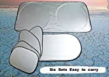 PDR 車用日よけ 遮光 サンシェード サンバイザー 簡単取付 日除け 6点セット 全窓カバー
