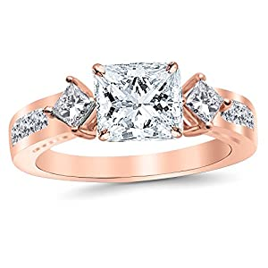 1.35 Carat t.w. 14K Rose Gold Princess Channel Set 3 Three Stone Princess Diamond Engagement Ring G/SI2