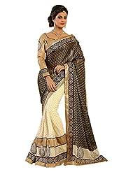 Fancy Appreciable Cream Colored Embroidered Viscose Georgette Saree By Triveni