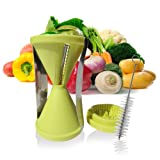 Spiral Vegetable Slicer Spiralizer Mandoline with Perfect Japanese Stainless Steel Blades for Low Carb Healthy Spaghettis, with Brush and Recipees. Good Against Constipation and High Cholesterol. Small, Stores Easily. Money Back Guarantee.