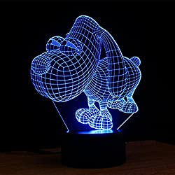 Dog with Big Eyes 3D Optical Illusion Desk Lamp 7 Colors Change Touch Button USB Nightlight Produces Unique Visualization Lighting Effects Art Sculpture Light