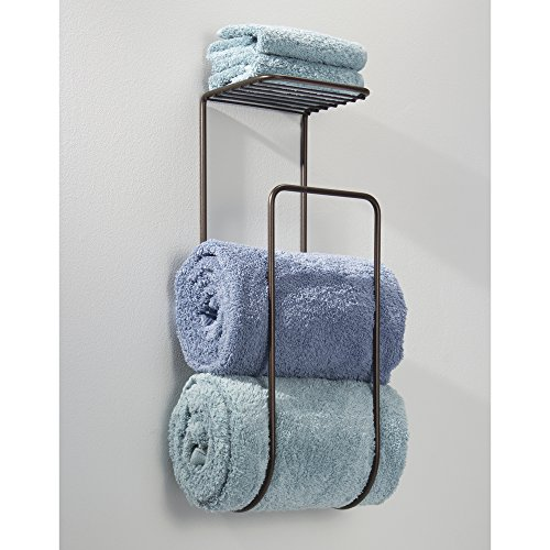 Mdesign Wall Mount Towel Holder With Shelf For Bathroom