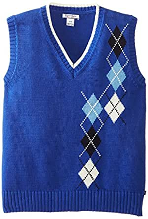 Kitestrings Big Boys' Big Intarsia Sweater Vest, Sapphire, 12-14