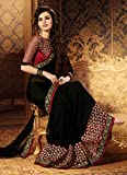 Vivera Womens Georgette Saree with Embroidery Blouse(VRRANI_BLACK)