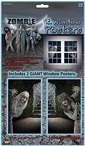 Forum Novelties Scary Zombie Peering On Window Poster Halloween Decoration