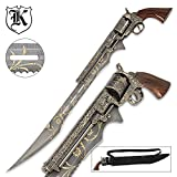 Otherworld Steampunk Gun Blade Sword With Nylon Shoulder Sheath - Antique Finish, Laser-Etched And Engraved Accents, Spinning Barrel - 26