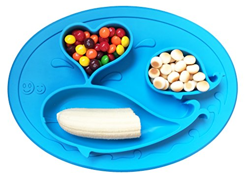 Whale Happy Placemat, One Piece Silicone Suction Placemat and Plate - for Kids, Toddlers and Babies (Blue)