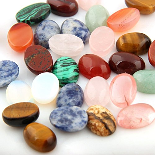 Mutilcolor 12pcs 10x14mm Oval Teardrop Random Color CAB Cabochon Beads Crystal Quartz Stone Wholesale for Jewelry Making (Gem Stones For Jewelry Making compare prices)