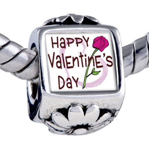 Valentine's Day- Pink Rose Photo Flower European Charm Bead Bracelets Pandora & Bracelet Compatible