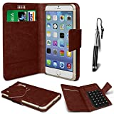 N4U Online® - LG Optimus L3 E400 Brown PU Leather Suction Pad Wallet Case Cover & Mini Stylus Pen