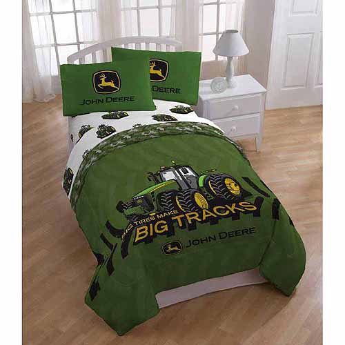 John Deere 4pc Twin Comforter and Sheet Set Bedding Collection, Green Tractor Big Tires (John Deere Tires compare prices)