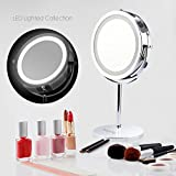 BlingBling® 7Inch 10X Magnifying Lighted Makeup Mirror Vanity Mirror LED Double-sided Illuminated Magnifying Cordless Mirror with Light